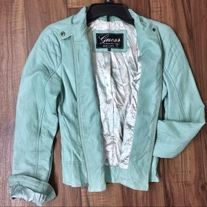 Guess Mint Vegan Leather Moto Jacket